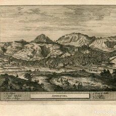 Arte: GRABADO TOPOGRÁFICO DE ANTEQUERA EN MÁLAGA. PROCEDE DE LA OBRA DE PIETER VAN DER AA DELICES DE ESPA. Lote 186172483