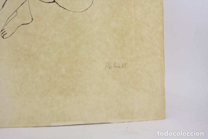 Arte: Joan Rebull (1899 - 1981), grabado, mujer sentada, tiraje 43 / 60, firmado. 70x53cm - Foto 3 - 186290575