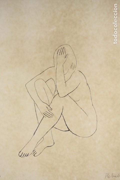 Arte: Joan Rebull (1899 - 1981), grabado, mujer sentada, tiraje 43 / 60, firmado. 70x53cm - Foto 4 - 186290575