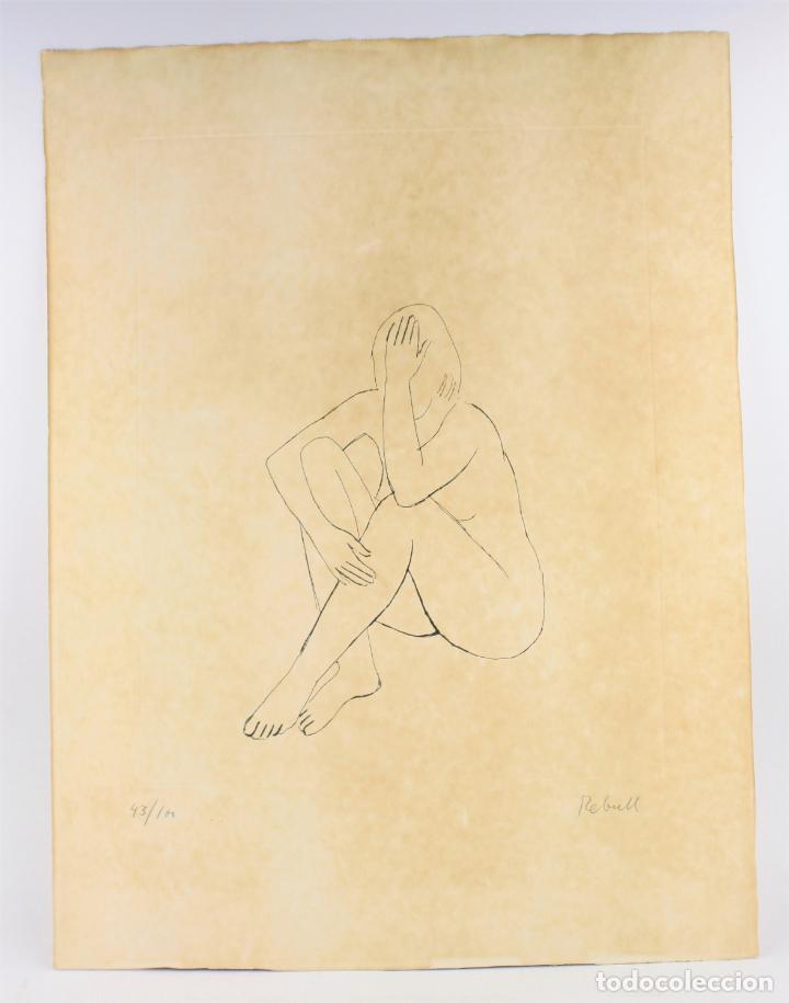 JOAN REBULL (1899 - 1981), GRABADO, MUJER SENTADA, TIRAJE 43 / 60, FIRMADO. 70X53CM (Arte - Grabados - Contemporáneos siglo XX)