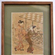 Arte: GRABADO JAPONES ORIGINAL DE SUZUKI HARUNOBU (1724-1770) MUY RARO, VALOR ESTIMADO 2500-3000 EUROS. Lote 186402451