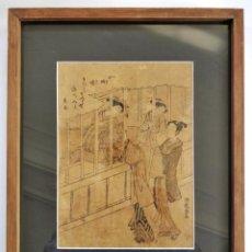 Arte: GRABADO JAPONES ORIGINAL DE ISODA KORYŪSAI (1735-1790) MUY RARO, VALOR ESTIMADO 1500-2000 EUROS. Lote 186402927
