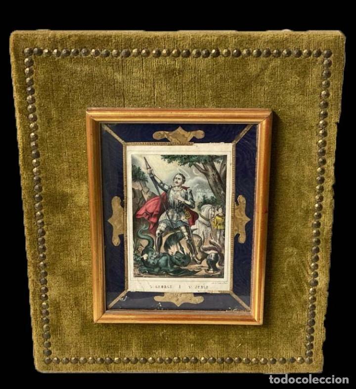 SAN JORGE CON BIGOTE, , GRABADO ILUMINADO, SEDA, TERCIOPELO, DORADOS, ÚNICO-MUY ANTIGUO (Arte - Grabados - Modernos siglo XIX)