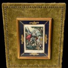Arte: SAN JORGE CON BIGOTE, , GRABADO ILUMINADO, SEDA, TERCIOPELO, DORADOS, ÚNICO-MUY ANTIGUO. Lote 187081350