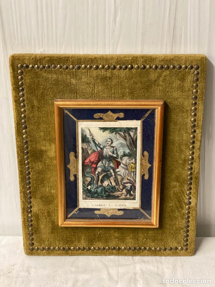 Arte: San jorge con bigote, , grabado iluminado, seda, terciopelo, dorados, único-muy antiguo - Foto 2 - 187081350