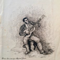 Arte: GUITARRISTA, GRABADO SIGLO XIX. Lote 187164328
