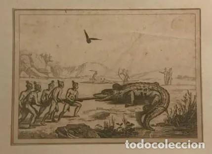 Arte: Cazadores con cocodrilo 26x19 cm - Foto 2 - 148781922