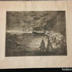 Arte: EXCEPCIONAL GRABADO ENTIERRO DE JOSE ANTONIO PRIMO RIVERA FALANGE POR ANTONIO CASERO. Lote 187307158