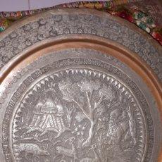 Arte: ANTIGUO PLATO DE COBRE GRABADO AN MANO ARTE SOBRE METAL. Lote 187422622