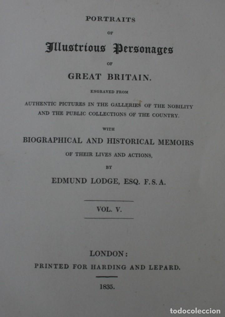 LODGE´S PORTRAITS – 20 GRABADOS Y BIOGRAFIA ILUSTRES PERSONAJES GRAN BRETANA 1835 - VOLUMEN V (Arte - Grabados - Modernos siglo XIX)