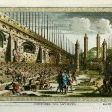 Arte: GRABADO 1750 - CIMETIERRE DES SACRIFICES - MEXICO - COLOREADO. Lote 188476738