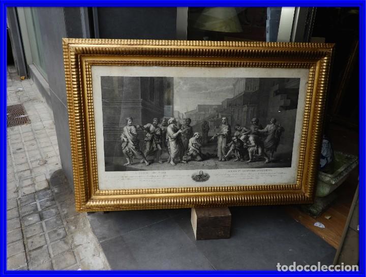 GRABADO CON FANTASTICO MARCO DE MADERA DORADA DE LA EPOCA S. XIX (Arte - Grabados - Modernos siglo XIX)