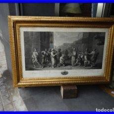 Arte: GRABADO CON FANTASTICO MARCO DE MADERA DORADA DE LA EPOCA S. XIX. Lote 188716942