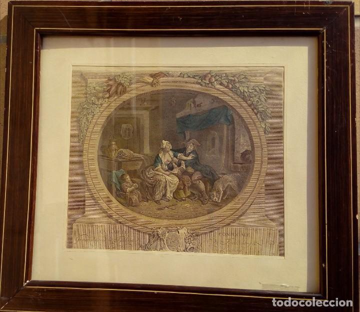 GRABADO DE N. DE LAUNAY. LA ALEGRÍA CONYUGAL. AGUAFUERTE ENRIQUECIDO A LA ACUARELA. FINALES S. XVIII (Arte - Grabados - Antiguos hasta el siglo XVIII)