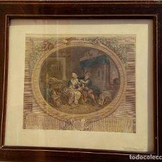 Arte: GRABADO DE N. DE LAUNAY. LA ALEGRÍA CONYUGAL. AGUAFUERTE ENRIQUECIDO A LA ACUARELA. FINALES S. XVIII. Lote 188740365
