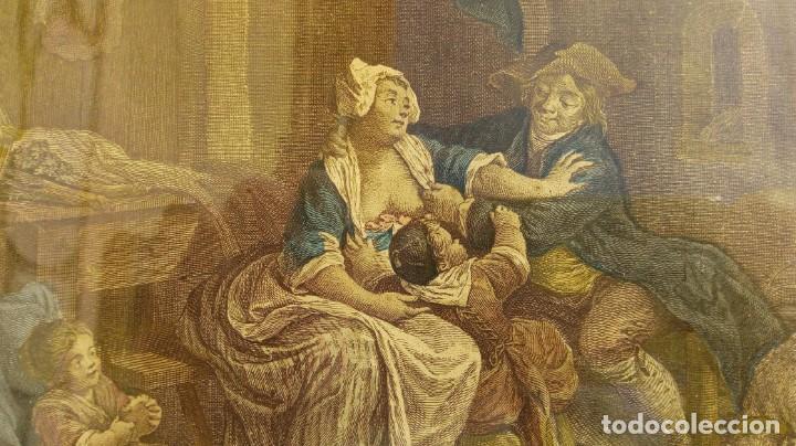 Arte: GRABADO DE N. DE LAUNAY. LA ALEGRÍA CONYUGAL. AGUAFUERTE ENRIQUECIDO A LA ACUARELA. FINALES S. XVIII - Foto 2 - 188740365