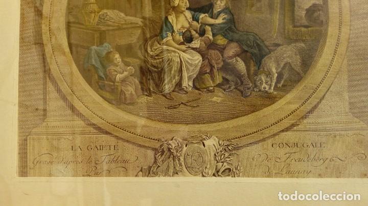 Arte: GRABADO DE N. DE LAUNAY. LA ALEGRÍA CONYUGAL. AGUAFUERTE ENRIQUECIDO A LA ACUARELA. FINALES S. XVIII - Foto 3 - 188740365