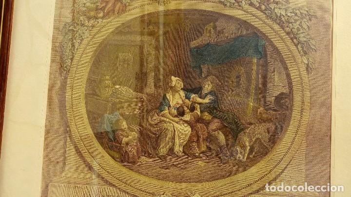 Arte: GRABADO DE N. DE LAUNAY. LA ALEGRÍA CONYUGAL. AGUAFUERTE ENRIQUECIDO A LA ACUARELA. FINALES S. XVIII - Foto 4 - 188740365