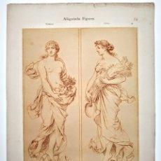 Arte: PRECIOSO GRABADO MODERNISTA CIRCA 1900 ANTIQUE UNIQUE. Lote 188745875