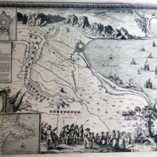 Arte: MAPA MILITAR SITIO DE ROSAS EN 1645 - SIEUR DE BEAULIEU - PLAN DE LA VILLE DE ROSES - 75,5X56,5. Lote 188754052