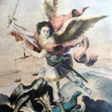 Arte: GRABADO SAN MIGUEL ARCÁNGEL - ILUMINADO - COLORES VIVOS. Lote 188765785