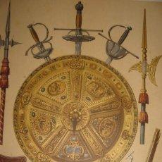 Arte: GRABADO ARMAS DEL SIGLO XVII, ORIGINAL, 1879, BARCELONA,PUJADAS.. Lote 188776157