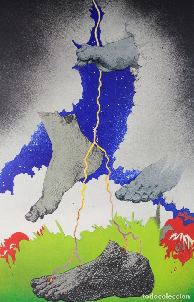 Arte: Francesc Artigau, grabado, pies y nubes, 1972, tiraje 1 / 250, firmado. 68x47,5cm - Foto 2 - 189620841