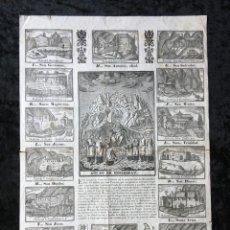 Arte: MONTSERRAT - GRABADO IMPRESO EN MANRESA POR PABLO ROCA - CON LAS TRECE ERMITAS Y LA SANTA CUEVA. Lote 189695918
