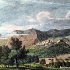 Arte: GRABADO COLOREADO VISTA DE VILLA FAMES - VILLAFAMÉS - CASTELLÓN - ORIGINAL - CIRCA 1810. Lote 190048598