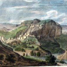Arte: GRABADO COLOREADO VISTA DE CHULILLA - VALENCIA - ORIGINAL - CIRCA 1810. Lote 190048816