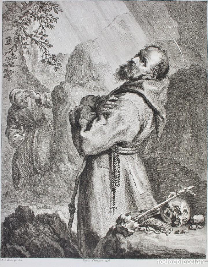Arte: ELEGANTE GRABADO RELIGIOSO-SAN FRANCISCO DE ASIS- P.P RUBENS PINXIT-FRAN PETRUCCI DEL-ID PICCHIANTI - Foto 2 - 190143953