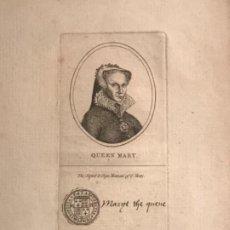 Arte: GRABADO DE LA REINA MARY I. QUEEN MARY. TEMPORIS FILIA VERITAS. . Lote 190166690