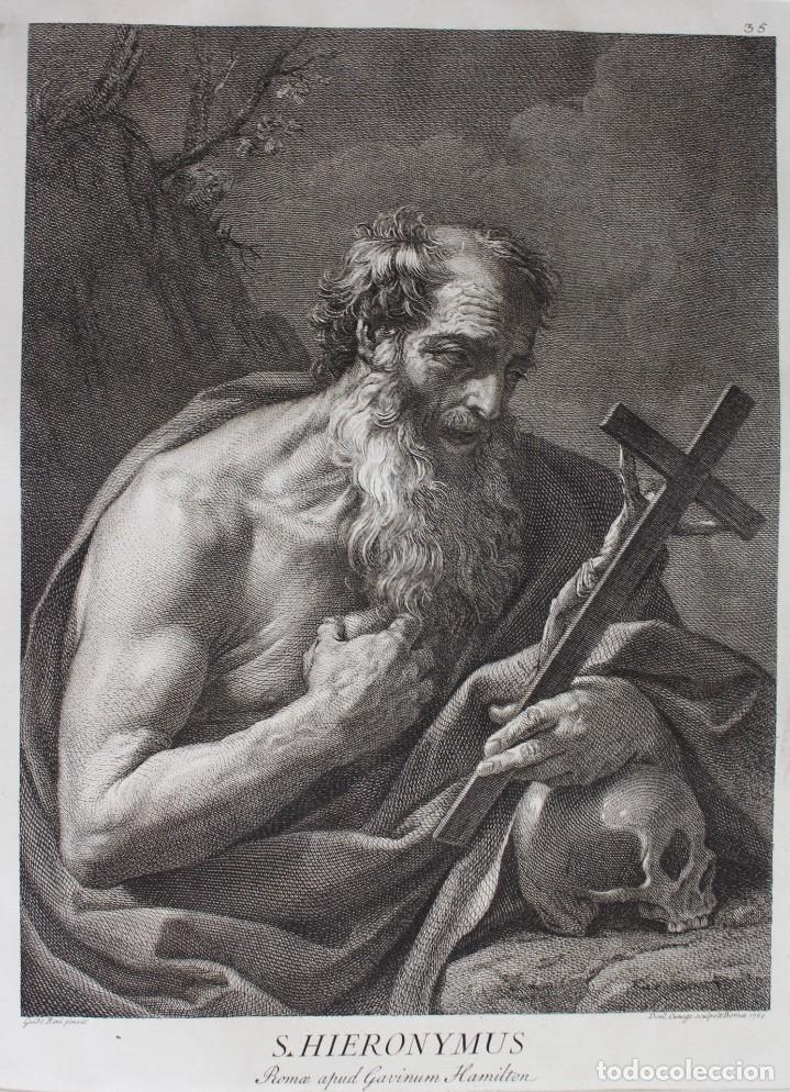 Arte: ESPECTACULAR GRABADO- SAN JERÓNIMO-S.HIERONYMUS -LAMINA 35- GUIDO REMI- Dom.o Cunego sculpsit 1769 - Foto 2 - 190226831