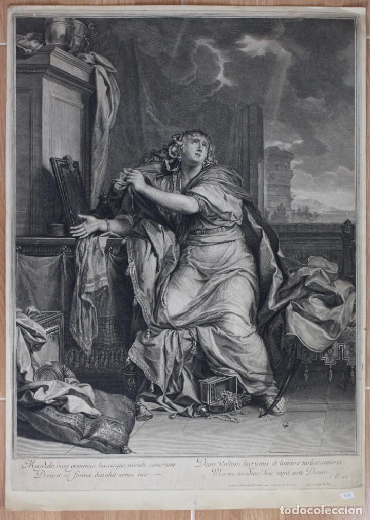 HERMOSO GRABADO_ MARIA MAGDALENA RENUNCIANDO A LO MUNDANO- APROX 1690-C.LE BRUN PINXIT- G.EDELINCK.. (Arte - Grabados - Antiguos hasta el siglo XVIII)