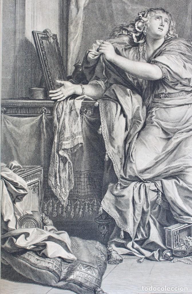 Arte: HERMOSO GRABADO_ MARIA MAGDALENA RENUNCIANDO A LO MUNDANO- APROX 1690-C.LE BRUN PINXIT- G.EDELINCK.. - Foto 3 - 190238980