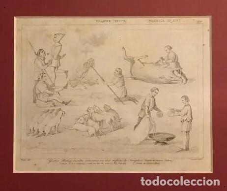 GASTÓN FEBO ENSEÑA COMO SE HA DE PARTIR AL JABALÍ. GRABADO ANTIGUO. FRANCIA. SIGLO XIX. (Arte - Grabados - Modernos siglo XIX)