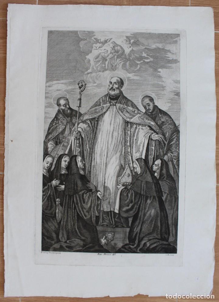ELEGANTE GRABADO RELIGIOSO-P. CALIARY VERONESE PINXIT- FRAN. PETRUCCI DEL- C.M. SCULP (Arte - Grabados - Antiguos hasta el siglo XVIII)