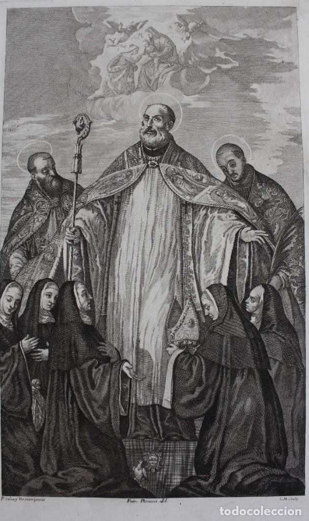 Arte: ELEGANTE GRABADO RELIGIOSO-P. CALIARY VERONESE PINXIT- FRAN. PETRUCCI DEL- C.M. SCULP - Foto 2 - 190347031