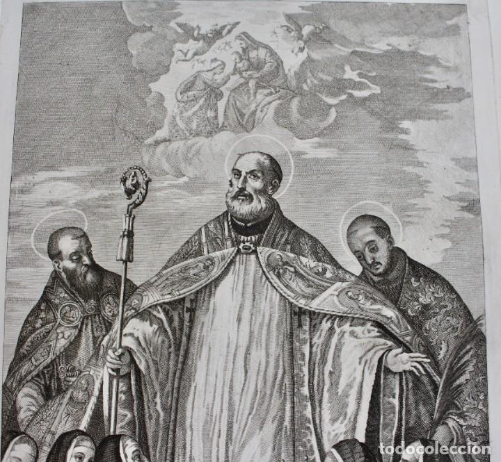 Arte: ELEGANTE GRABADO RELIGIOSO-P. CALIARY VERONESE PINXIT- FRAN. PETRUCCI DEL- C.M. SCULP - Foto 3 - 190347031