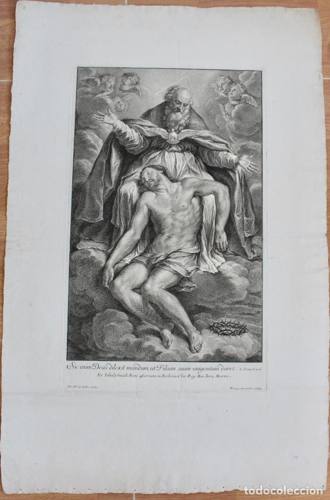 ESPECTACULAR GRABADO RELIGIOSO- S. JOANN C.3.16- EX TABULA GUIDI RENI-IAC.FREIJ DELIN.ET INC -1734 (Arte - Grabados - Antiguos hasta el siglo XVIII)