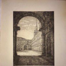 Arte: MADRID- PLAZA MAYOR- AGUAFUERTE JAIME POY AÑO 1.953. Lote 190350542