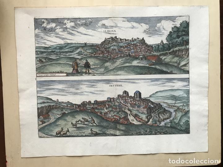 Arte: Gran vista de Lebrija (Sevilla) y Setenil (Cádiz) en España, 1575. Hoefnagel/Braun/Hogenberg - Foto 2 - 190373458