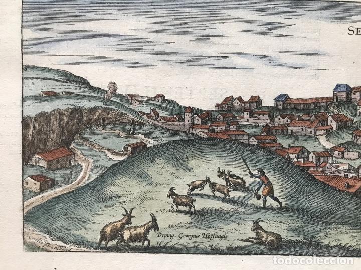 Arte: Gran vista de Lebrija (Sevilla) y Setenil (Cádiz) en España, 1575. Hoefnagel/Braun/Hogenberg - Foto 8 - 190373458