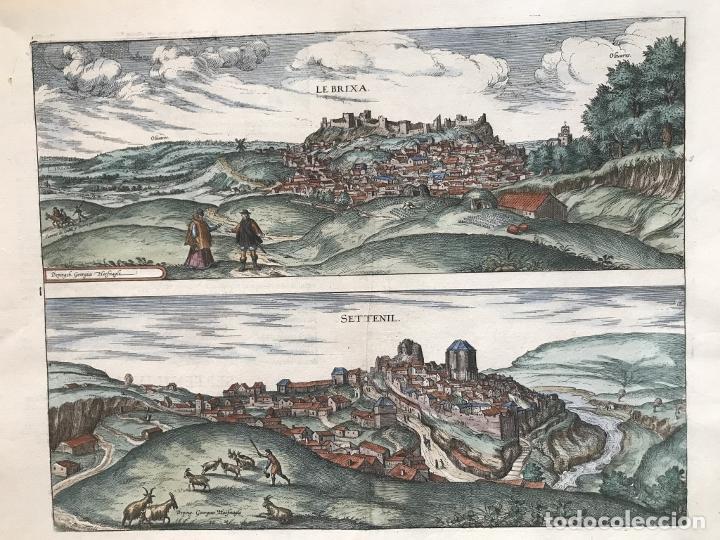 GRAN VISTA DE LEBRIJA (SEVILLA) Y SETENIL (CÁDIZ) EN ESPAÑA, 1575. HOEFNAGEL/BRAUN/HOGENBERG (Arte - Grabados - Antiguos hasta el siglo XVIII)