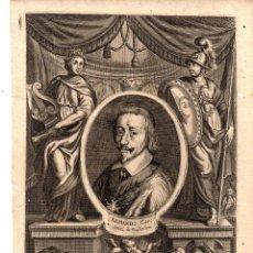 Arte: GRABADO CALCOGRAFICO ARMAND, CARDENAL DE RICHELIEU. SIGLO XVIII. Lote 190420502