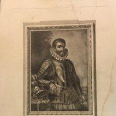 Arte: GRABADO AL ACERO DE DIEGO DE ALAVA Y BEAUMONT ESCRITOR MILITAR, EPOCA DE FELIPE II,VITORIA. Lote 190452017