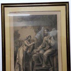 Arte: GRABADO S.XIX CRISTO Y LA SAMARITANA H. JENNY. Lote 190556722