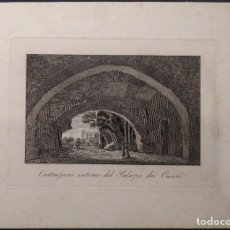 Arte: COSTRUZIONI INTERNE DEL PALAZZO DEI CESARI. GRABADO AL COBRE. GRAND TOUR. 1800 H.. Lote 190708353