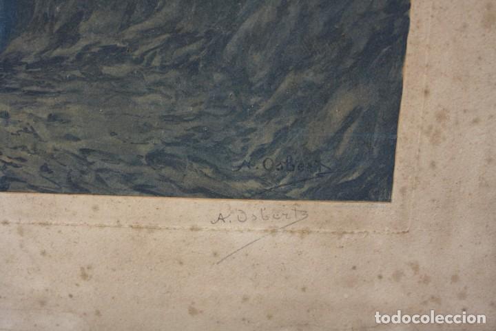Arte: Alphonse Osbert (1857 - 1939), grabado, musas en la orilla, 1920's, simbolismo, firmado. 70x62cm - Foto 3 - 190815675