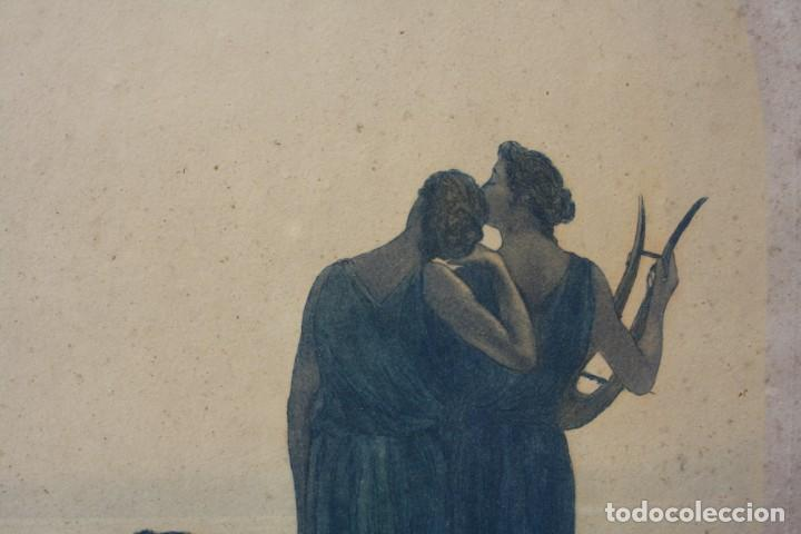 Arte: Alphonse Osbert (1857 - 1939), grabado, musas en la orilla, 1920's, simbolismo, firmado. 70x62cm - Foto 2 - 190815675